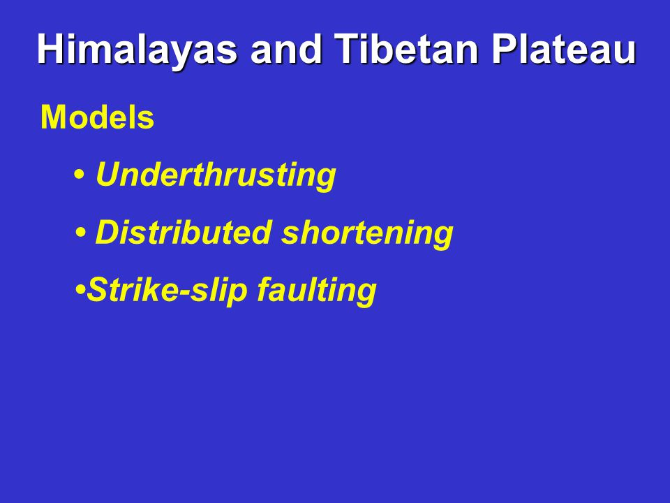 Himalayas and Tibetan Plateau Models Underthrusting Distributed shortening Strike-slip faulting