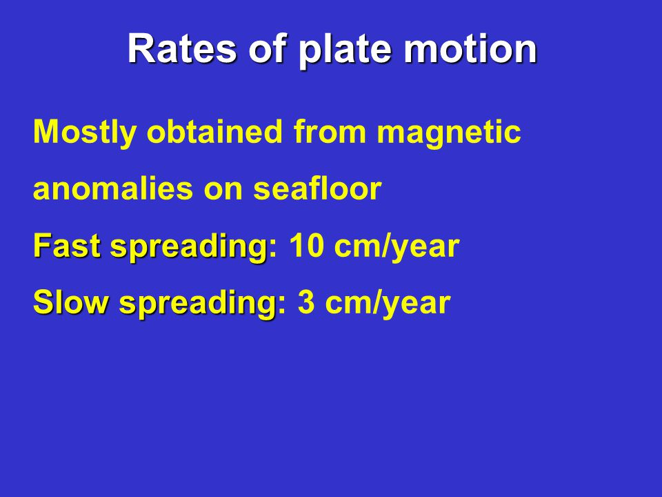 Rates of plate motion Mostly obtained from magnetic anomalies on seafloor Fast spreading Fast spreading: 10 cm/year Slow spreading Slow spreading: 3 cm/year