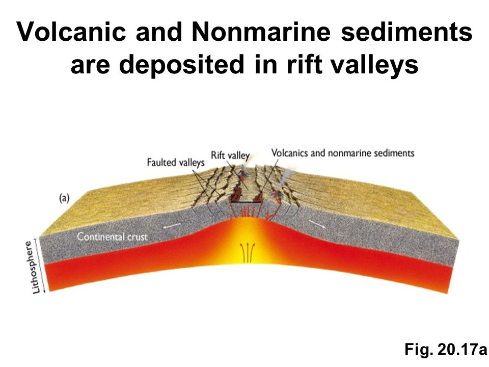 Volcanic and Nonmarine sediments are deposited in rift valleys Fig. 20.17a