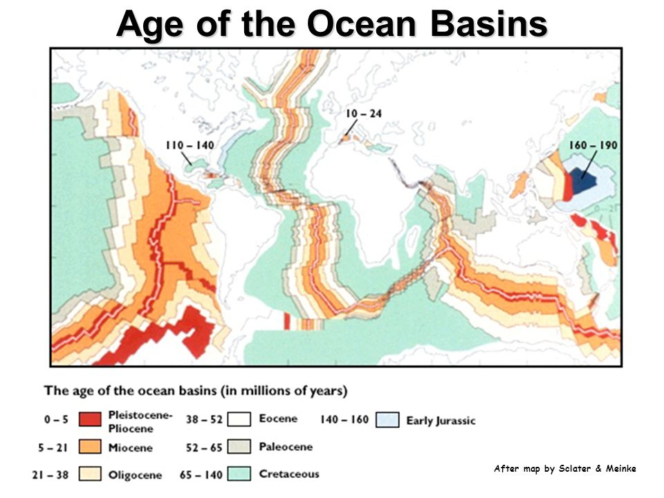 After map by Sclater & Meinke Age of the Ocean Basins