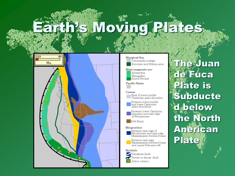 Earth's Moving Plates The Juan de Fuca Plate is Subducte d below the North Anerican Plate The Juan de Fuca Plate is Subducte d below the North Anerican Plate