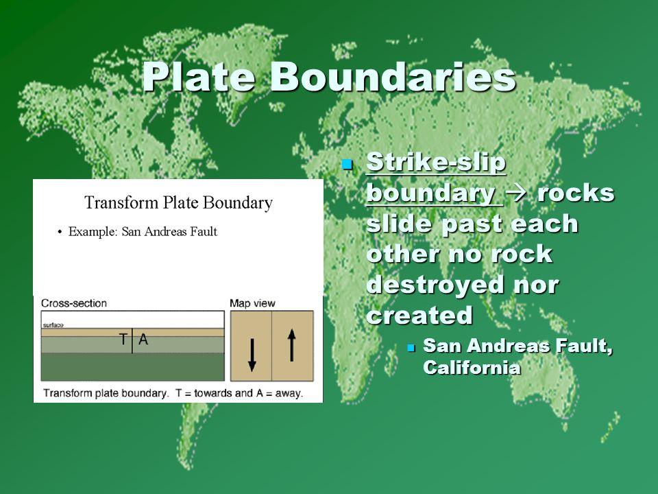 Plate Boundaries Strike-slip boundary  rocks slide past each other no rock destroyed nor created Strike-slip boundary  rocks slide past each other no rock destroyed nor created San Andreas Fault, California