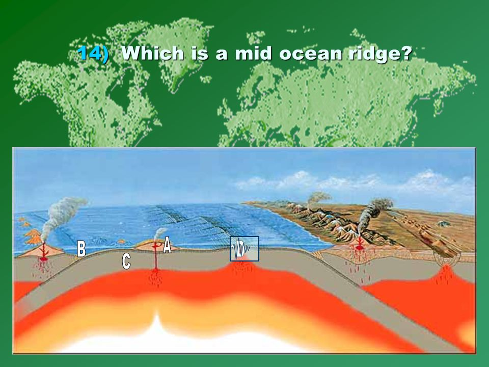 14)Which is a mid ocean ridge