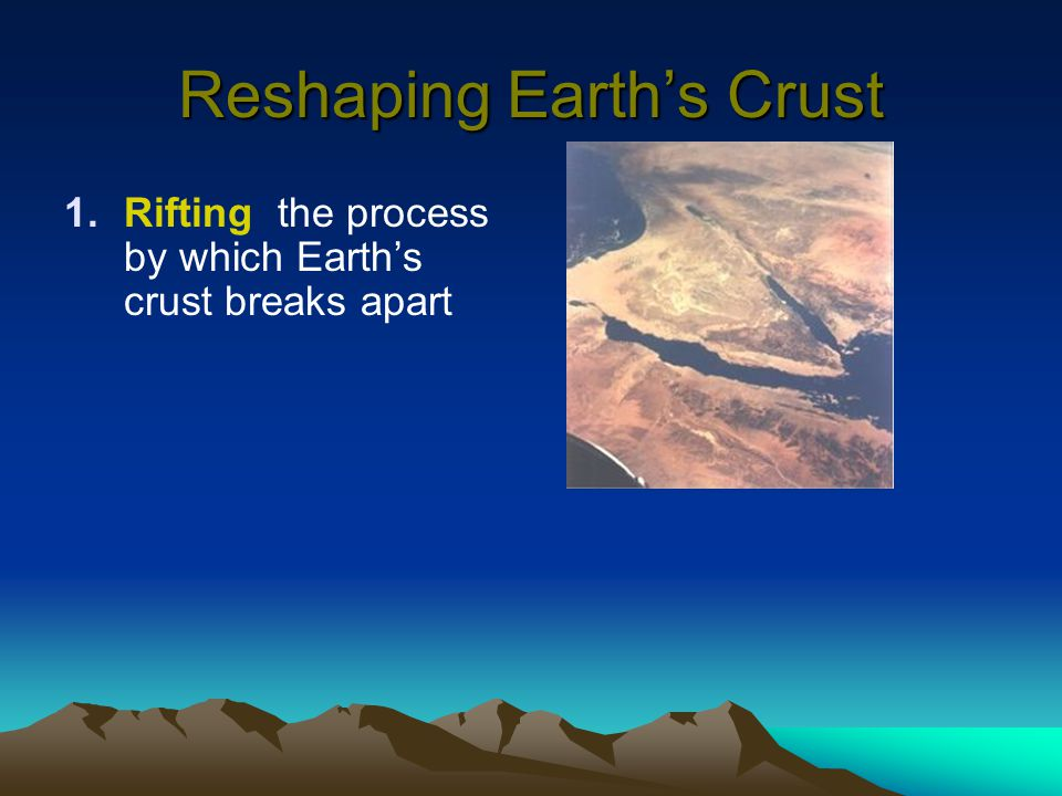 Reshaping Earth's Crust 1.Rifting the process by which Earth's crust breaks apart