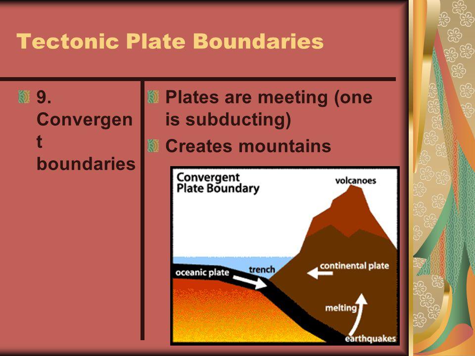 Tectonic Plate Boundaries 8. Divergent boundaries Plates pulling apart (aka= seafloor spreading)
