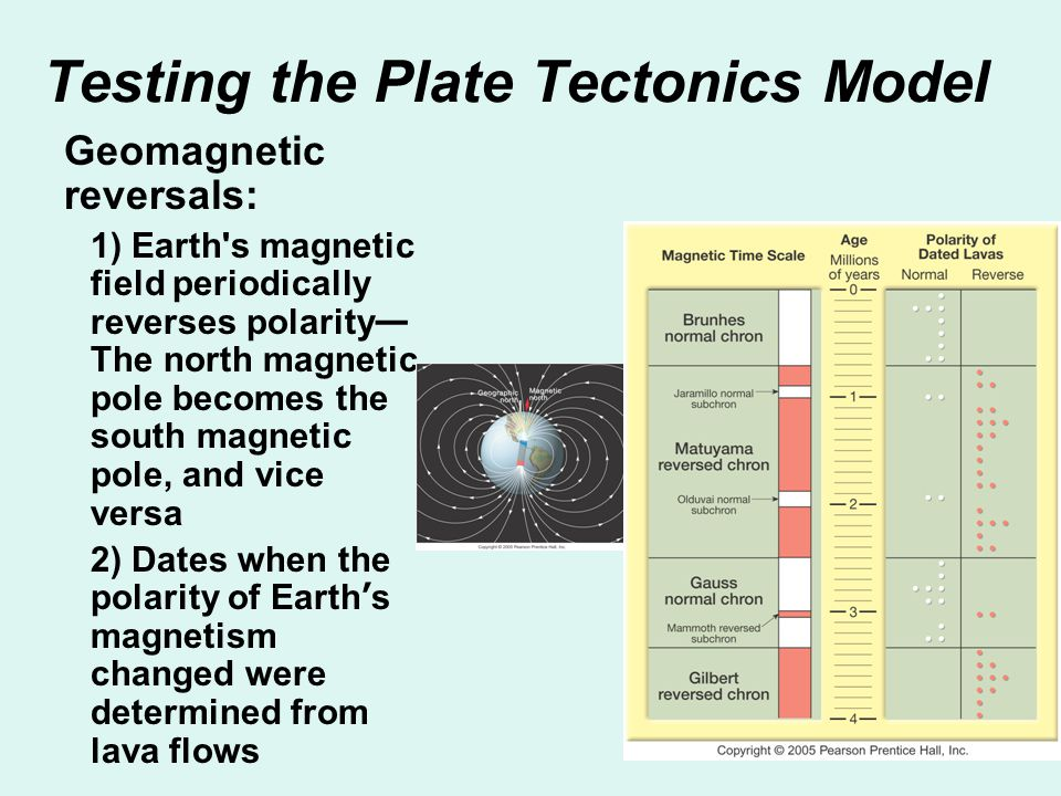 Testing the Plate Tectonics Model Geomagnetic reversals: 1) Earth's magnetic field periodically reverses polarity — The north magnetic pole becomes th
