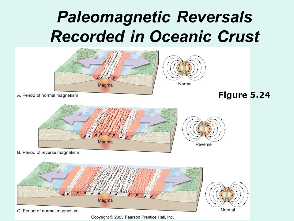 Paleomagnetic Reversals Recorded in Oceanic Crust Figure 5.24