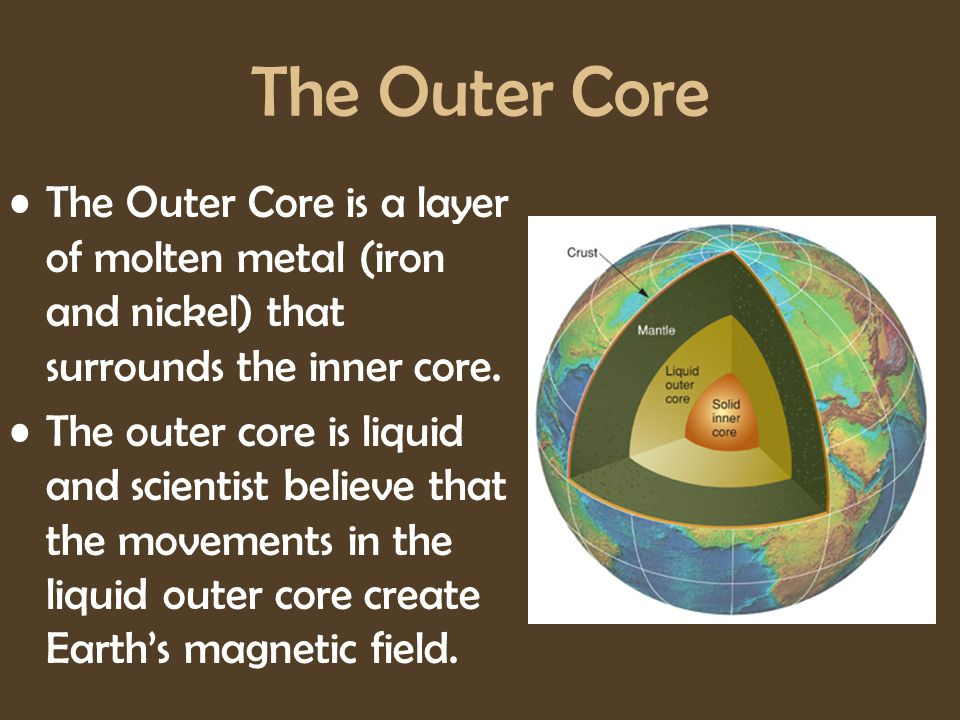 The Outer Core The Outer Core is a layer of molten metal (iron and nickel) that surrounds the inner core.