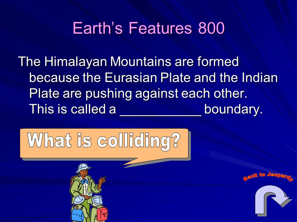 Earth's Features 800 The Himalayan Mountains are formed because the Eurasian Plate and the Indian Plate are pushing against each other.