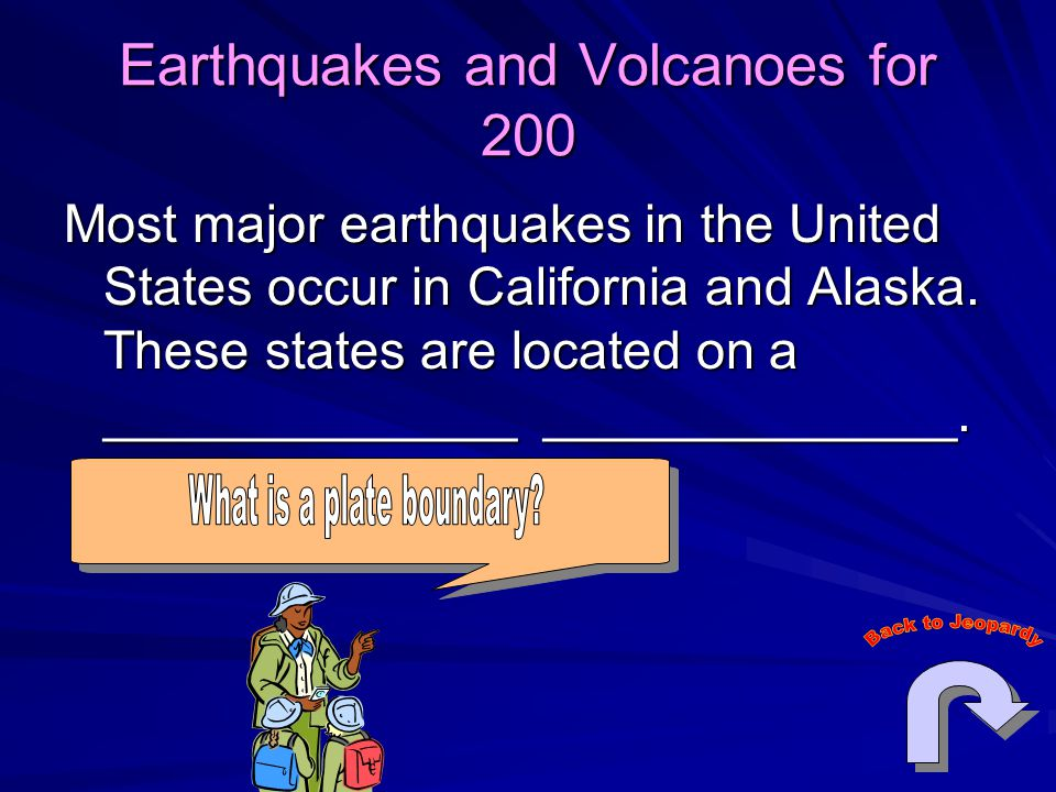 Earthquakes and Volcanoes for 200 Most major earthquakes in the United States occur in California and Alaska. These states are located on a __________