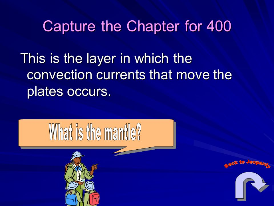 Capture the Chapter for 400 This is the layer in which the convection currents that move the plates occurs.