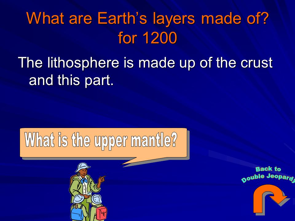 What are Earth's layers made of? for 1200 The lithosphere is made up of the crust and this part.