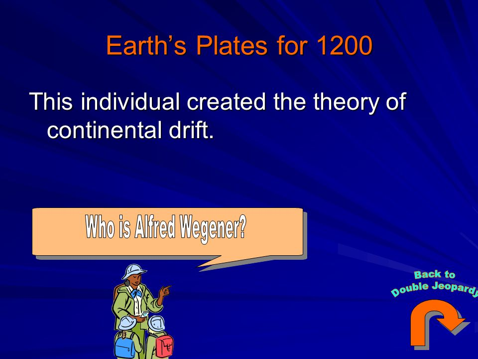 Earth's Plates for 1200 This individual created the theory of continental drift.