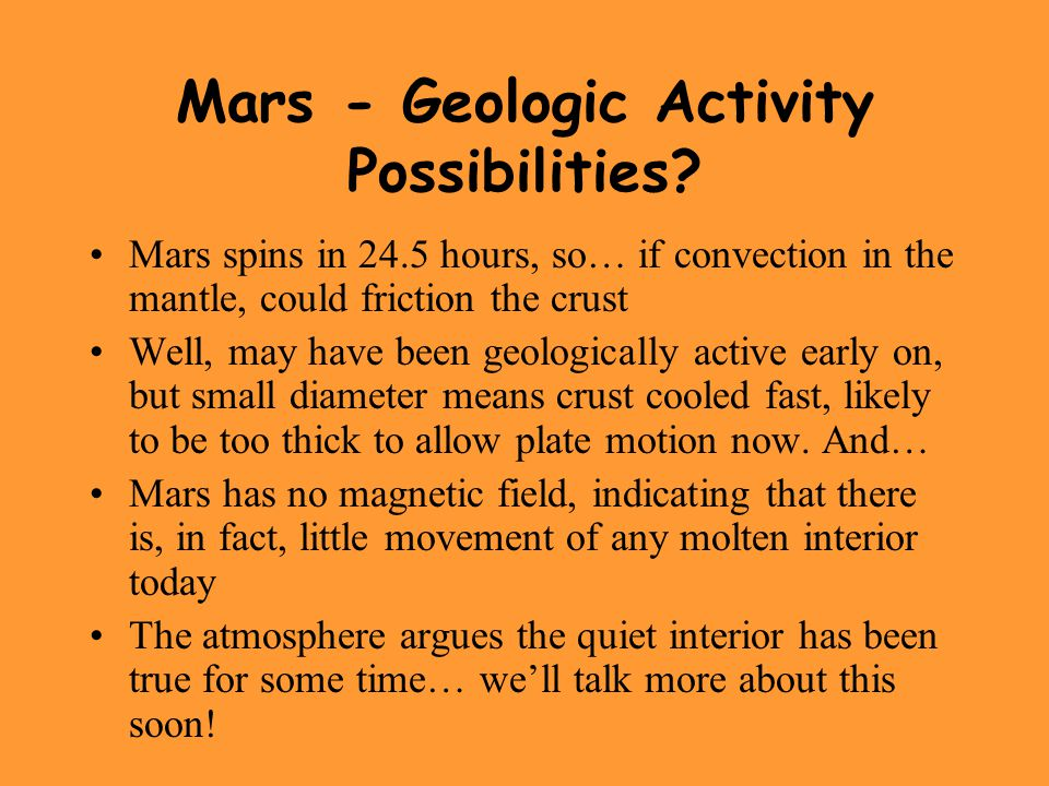 Mars - Geologic Activity Possibilities.