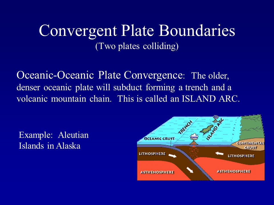 Convergent Plate Boundaries (Two plates colliding) Oceanic-Oceanic Plate Convergence : The older, denser oceanic plate will subduct forming a trench a