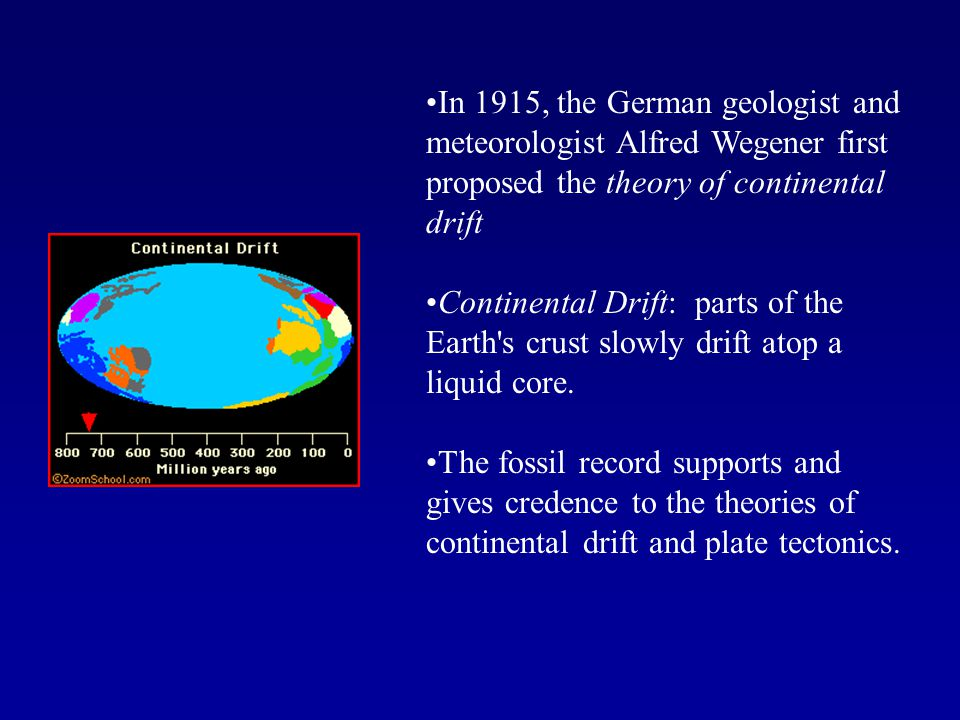 In 1915, the German geologist and meteorologist Alfred Wegener first proposed the theory of continental drift Continental Drift: parts of the Earth's