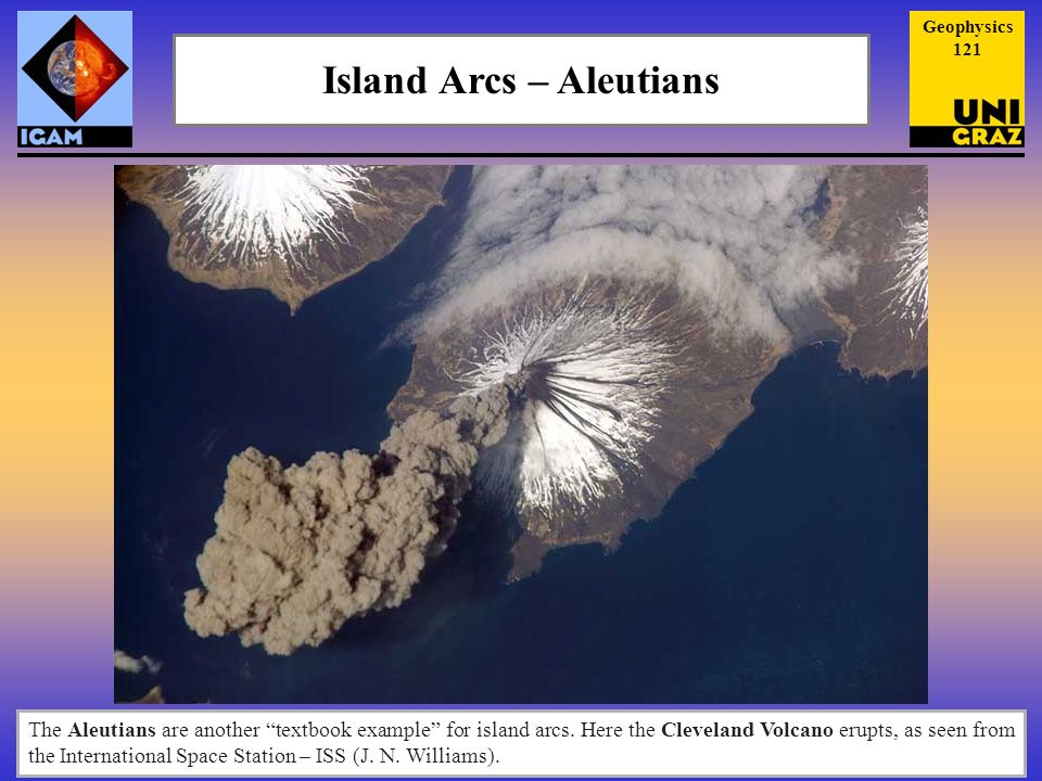 Island Arcs – Aleutians The Aleutians are another textbook example for island arcs.