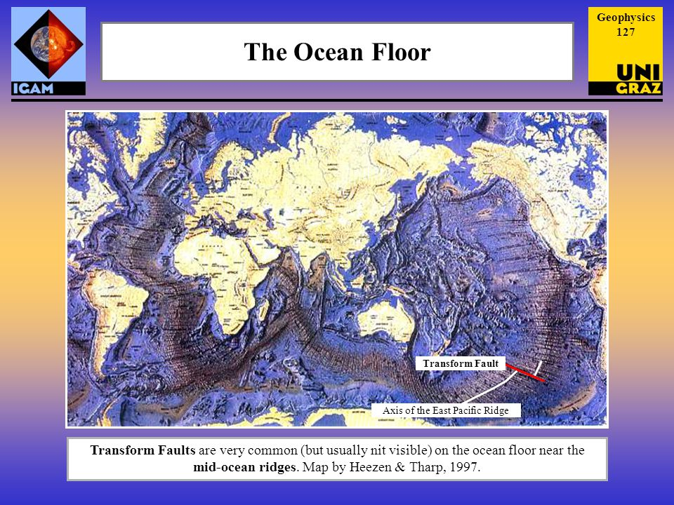 The Ocean Floor Transform Faults are very common (but usually nit visible) on the ocean floor near the mid-ocean ridges.