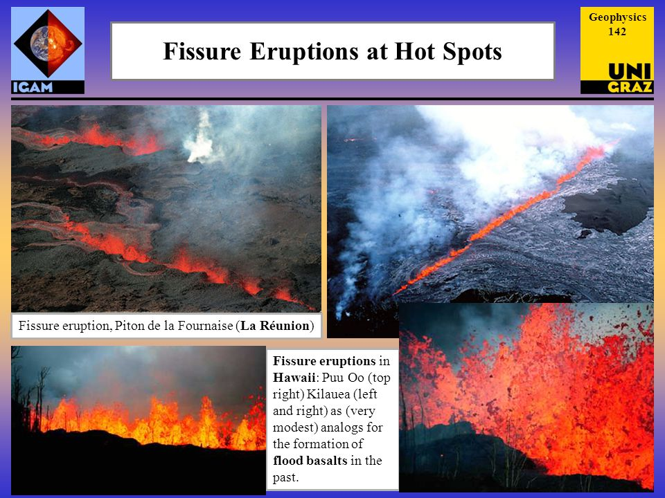 Fissure Eruptions at Hot Spots Fissure eruption, Piton de la Fournaise (La Réunion) Fissure eruptions in Hawaii: Puu Oo (top right) Kilauea (left and right) as (very modest) analogs for the formation of flood basalts in the past.