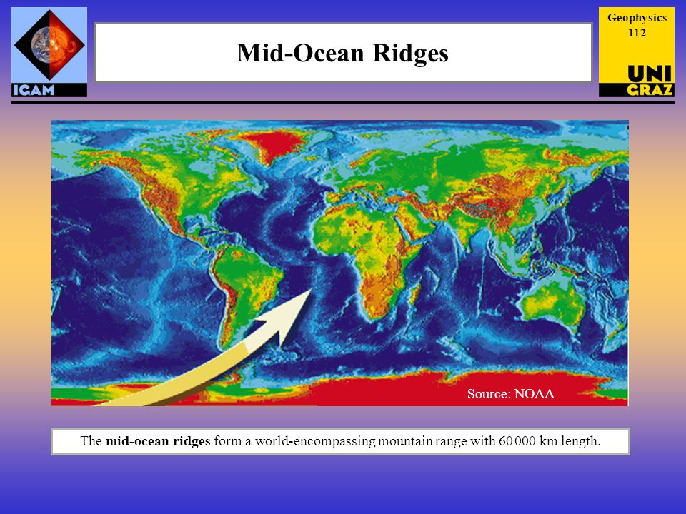 Mid-Ocean Ridges The mid-ocean ridges form a world-encompassing mountain range with 60 000 km length.