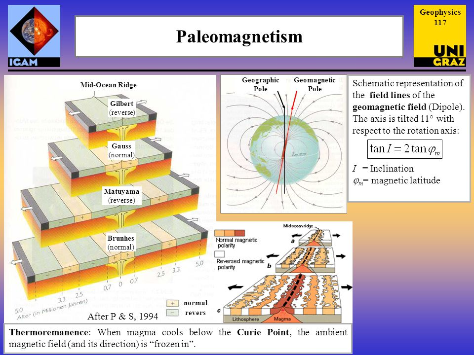 Paleomagnetism Thermoremanence: When magma cools below the Curie Point, the ambient magnetic field (and its direction) is frozen in .