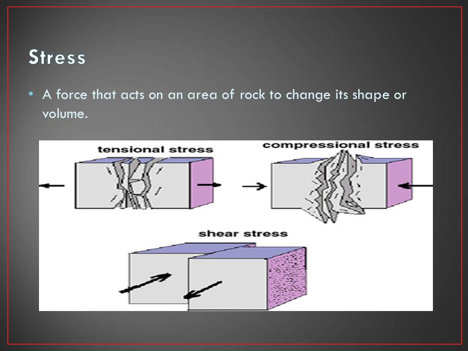 A force that acts on an area of rock to change its shape or volume.