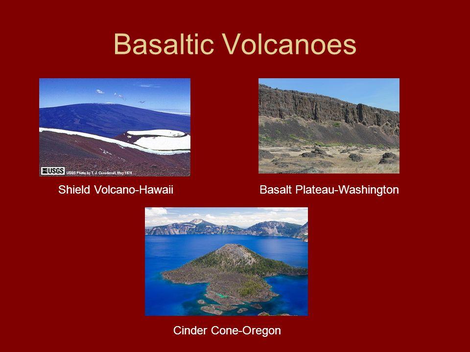 Basaltic Volcanoes Shield Volcano-HawaiiBasalt Plateau-Washington Cinder Cone-Oregon