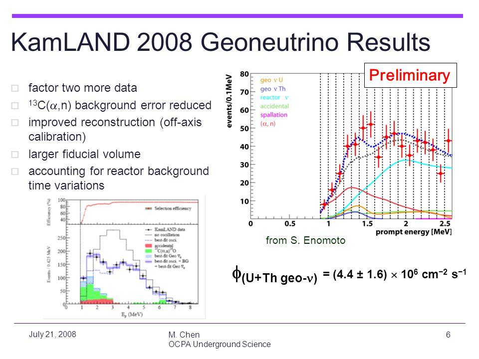 M. Chen OCPA Underground Science 6 July 21, 2008 Preliminary KamLAND 2008 Geoneutrino Results  factor two more data  13 C( ,n) background error red