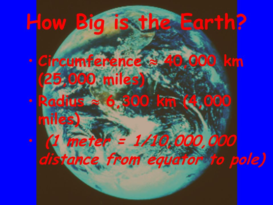 Circumference  40,000 km (25,000 miles) Radius  6,300 km (4,000 miles) (1 meter = 1/10,000,000 distance from equator to pole) How Big is the Earth?