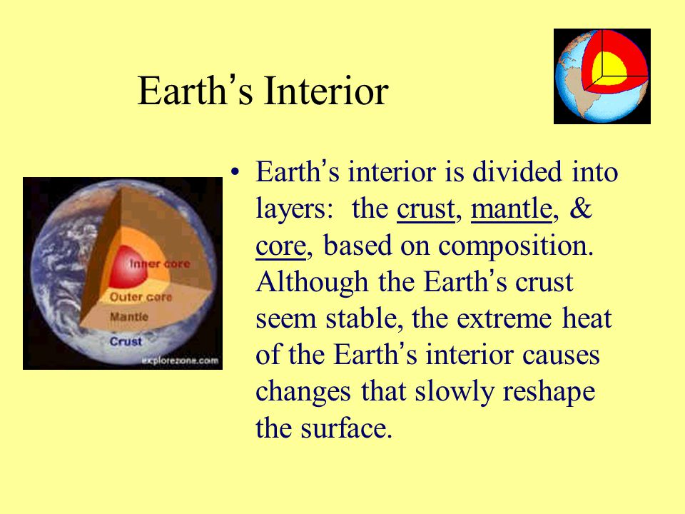 Earth ' s Interior Earth ' s interior is divided into layers: the crust, mantle, & core, based on composition. Although the Earth ' s crust seem stabl