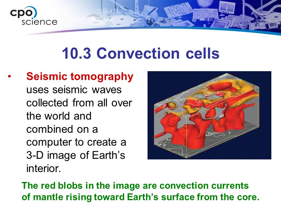 10.3 Convection cells Seismic tomography uses seismic waves collected from all over the world and combined on a computer to create a 3-D image of Eart