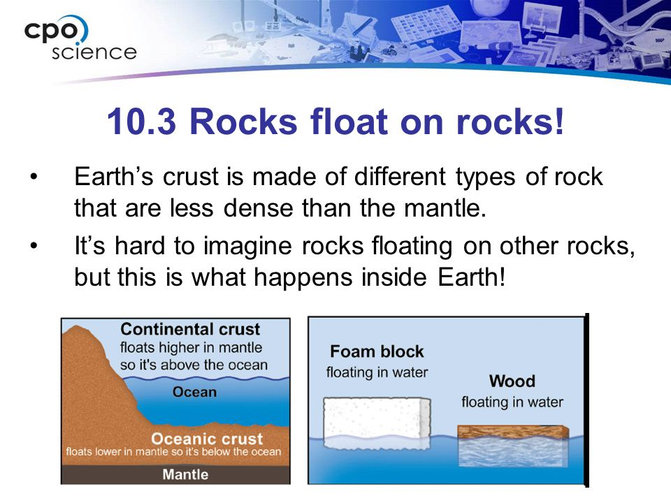 10.3 Rocks float on rocks! Earth's crust is made of different types of rock that are less dense than the mantle. It's hard to imagine rocks floating o