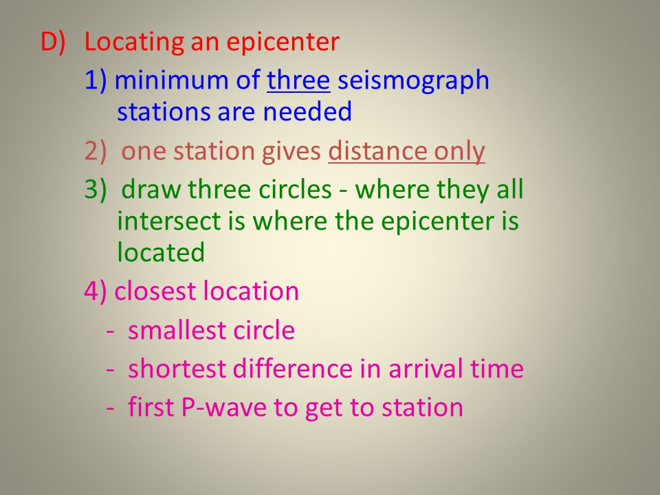 D)Locating an epicenter 1) minimum of three seismograph stations are needed 2) one station gives distance only 3) draw three circles - where they all