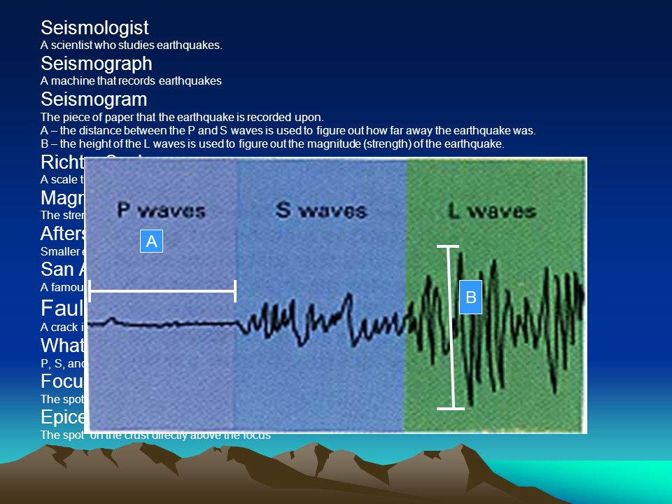 Seismologist A scientist who studies earthquakes. Seismograph A machine that records earthquakes Seismogram The piece of paper that the earthquake is