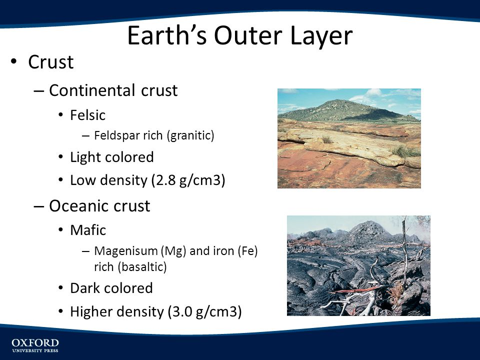 Earth's Outer Layer Crust – Continental crust Felsic – Feldspar rich (granitic) Light colored Low density (2.8 g/cm3) – Oceanic crust Mafic – Magenisum (Mg) and iron (Fe) rich (basaltic) Dark colored Higher density (3.0 g/cm3) [Insert Fig.