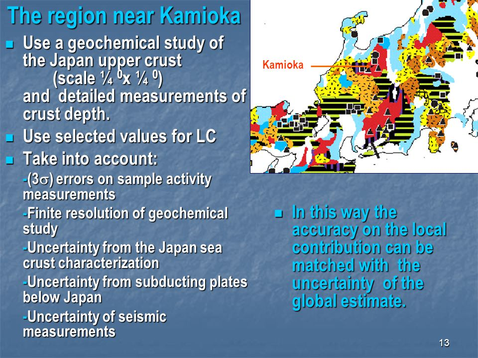 13 The region near Kamioka Kamioka Use a geochemical study of the Japan upper crust (scale ¼ 0 x ¼ 0 ) and detailed measurements of crust depth. Use a