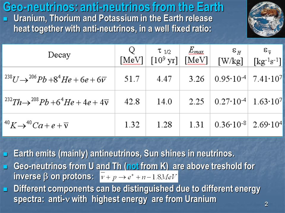 2 Geo-neutrinos: anti-neutrinos from the Earth Uranium, Thorium and Potassium in the Earth release heat together with anti-neutrinos, in a well fixed