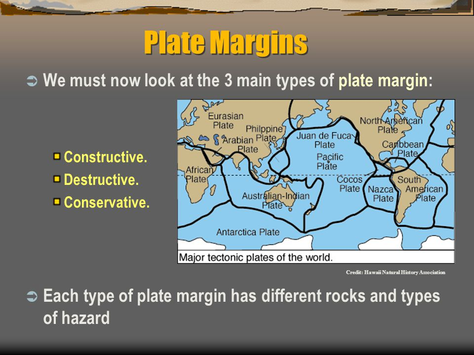 Plate Margins  We must now look at the 3 main types of plate margin: Constructive.