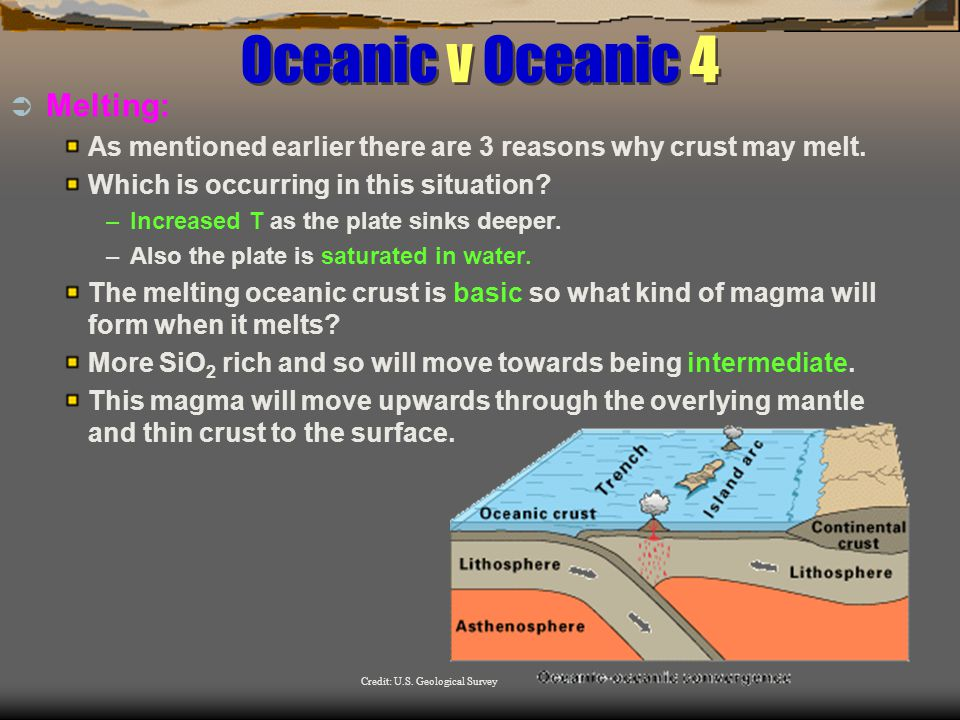 Oceanic v Oceanic 4  Melting: As mentioned earlier there are 3 reasons why crust may melt.