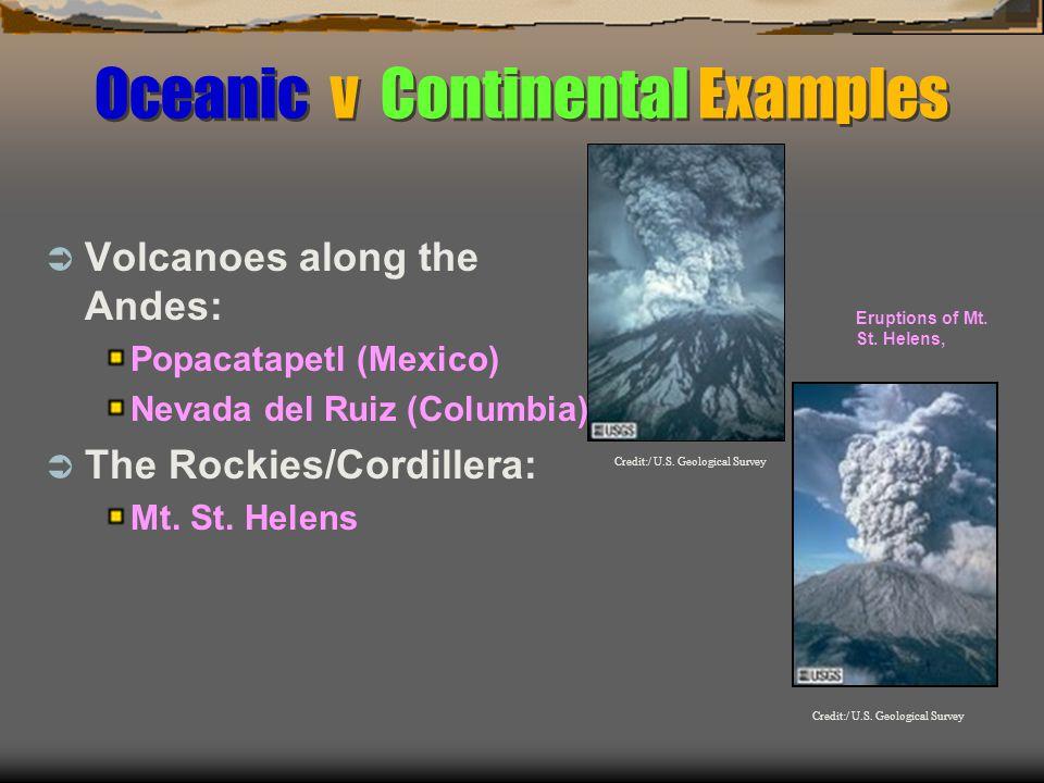 Oceanic v Continental Examples  Volcanoes along the Andes: Popacatapetl (Mexico) Nevada del Ruiz (Columbia)  The Rockies/Cordillera: Mt.