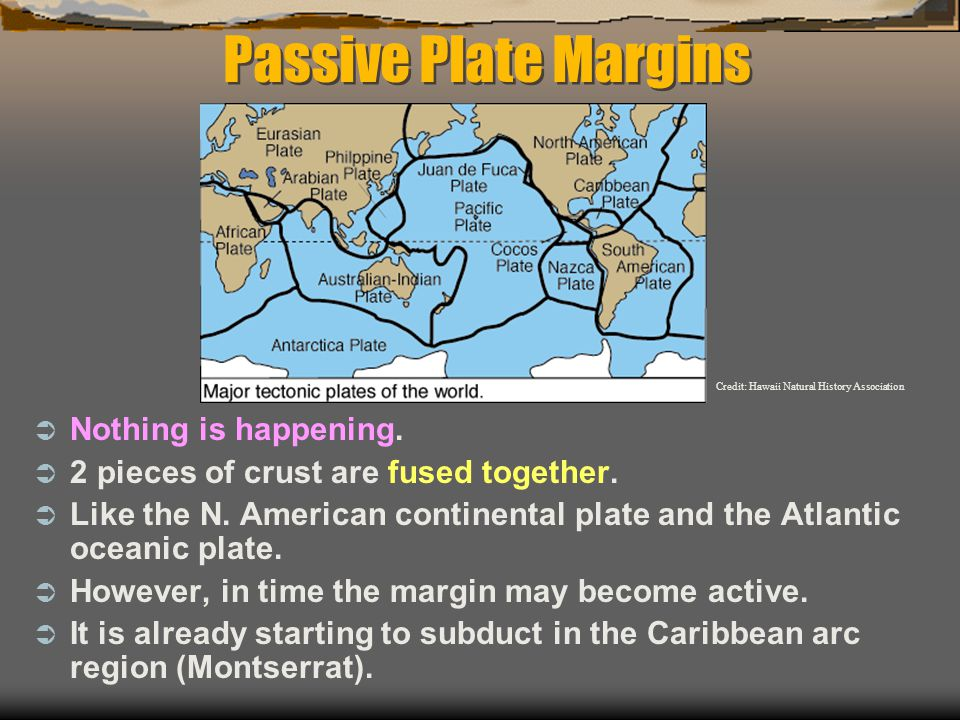 Passive Plate Margins  Nothing is happening.  2 pieces of crust are fused together.