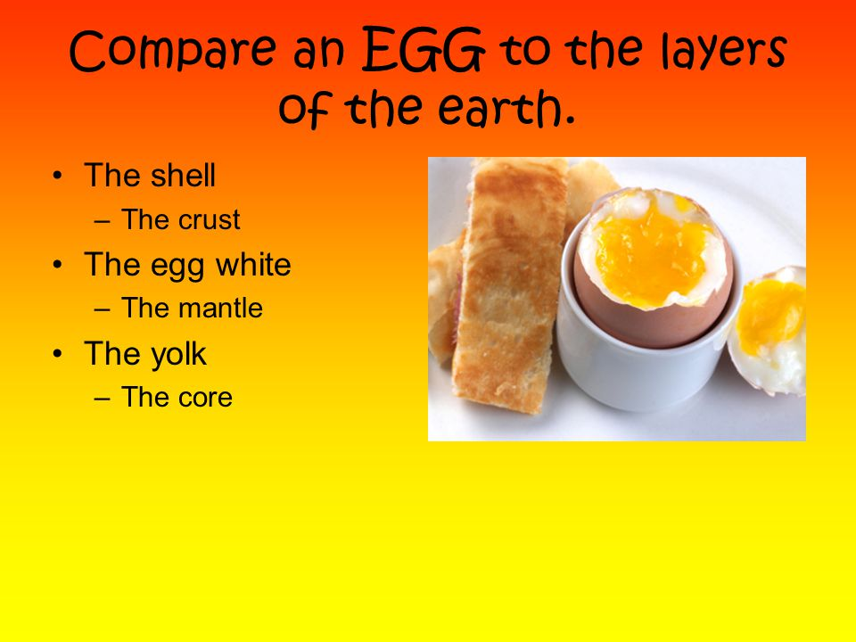 Compare an EGG to the layers of the earth.