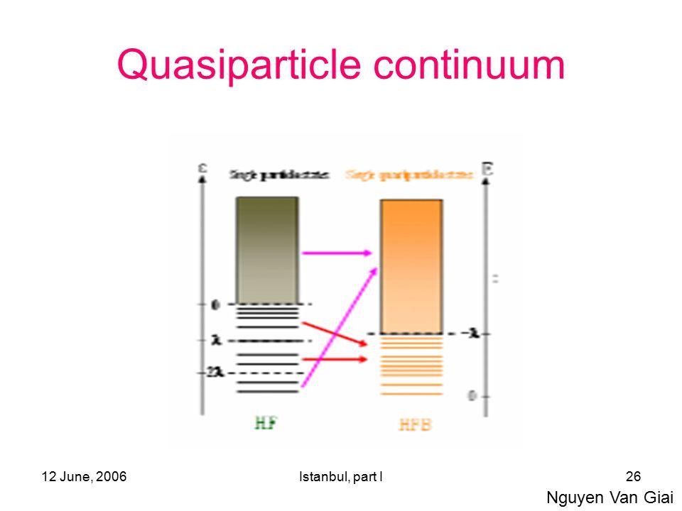 12 June, 2006Istanbul, part I26 Quasiparticle continuum Nguyen Van Giai