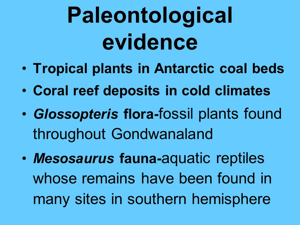 Paleontological evidence Tropical plants in Antarctic coal beds Coral reef deposits in cold climates Glossopteris flora- fossil plants found throughout Gondwanaland Mesosaurus fauna- aquatic reptiles whose remains have been found in many sites in southern hemisphere