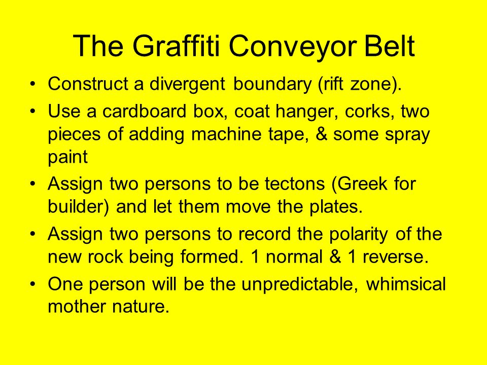 The Graffiti Conveyor Belt Construct a divergent boundary (rift zone).