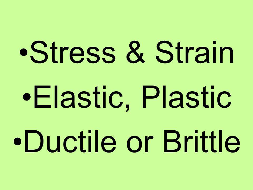 Stress & Strain Elastic, Plastic Ductile or Brittle