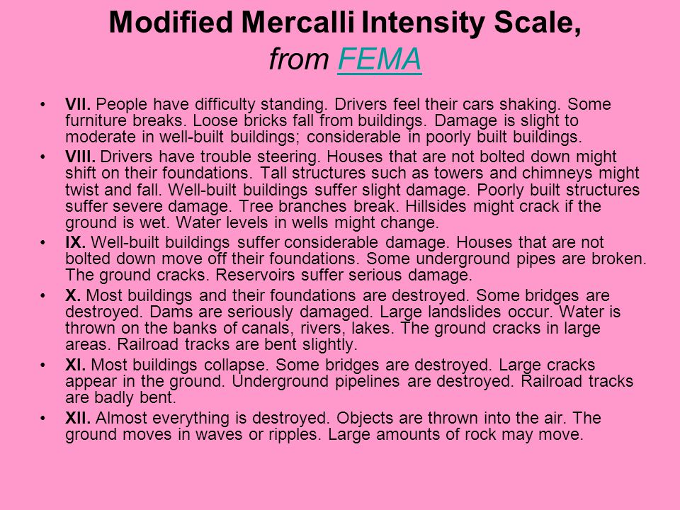 Modified Mercalli Intensity Scale, from FEMAFEMA VII.