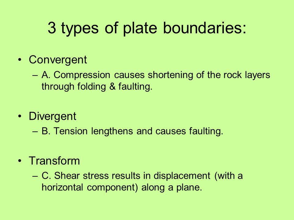 Convergent –A. Compression causes shortening of the rock layers through folding & faulting.