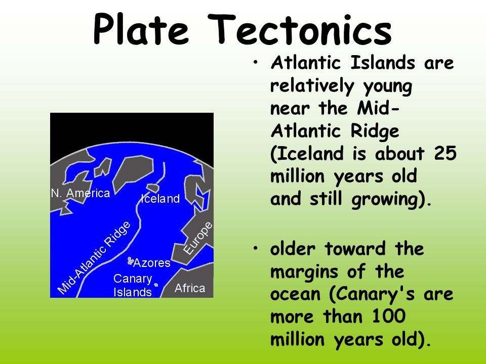Plate Tectonics Atlantic Islands are relatively young near the Mid- Atlantic Ridge (Iceland is about 25 million years old and still growing).