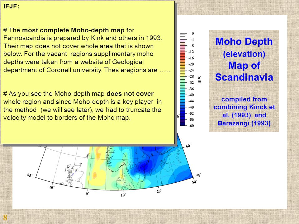 Moho Depth (elevation) Map of Scandinavia compiled from combining Kinck et al.